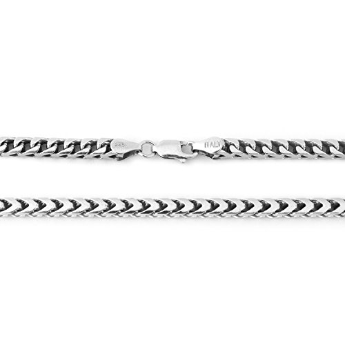 Men's Solid Sterling Silver Rhodium Plated 3mm Comfort Franco Chain Necklace, 24'' by Beauniq