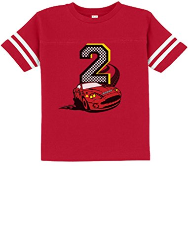 Tstars TeeStars - 2nd Birthday Race Car Party 2 Year Old Boy Toddler Jersey T-Shirt 2T Red
