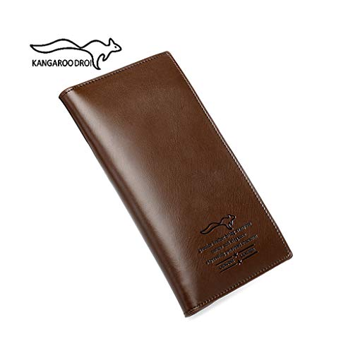 HYSW kangaroo men's leather multi-card double-fold wallet, can hold 20 cards - Technical cold pressed LOGO-13.56 MHz RFID protection - Prevent identity card theft - Gift box packaging