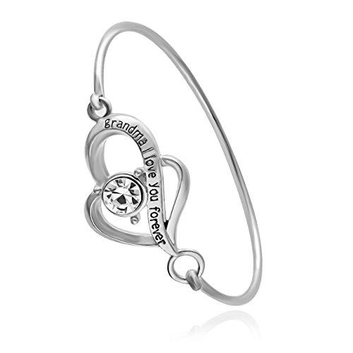 SENFAI 2 Heart Together Charm Hook Open Bracelet Bangle - Heart Bracelet Hook