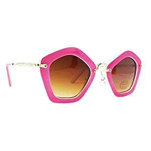 FRILLS Hot Pink Geometric Kids Polarized Oversized Sunglasses for Girls and Children Age 3-12