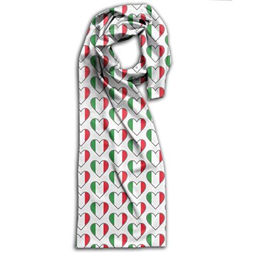 Womn's Adult Scarf Winter Soft Scarves Polyester Shawls Wrap Italian Flag Hearts