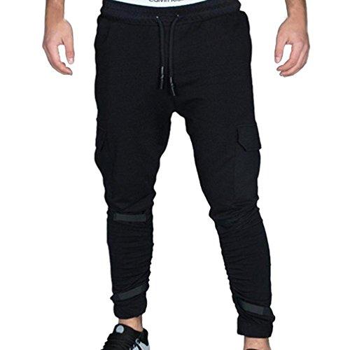 Men's Slim Fit Cotton Twill Chino Jogger Pants, Men Tight Beam Foot Drawstring Sports Slacks Casual Trousers (Black, XXL) by HTHJSCO