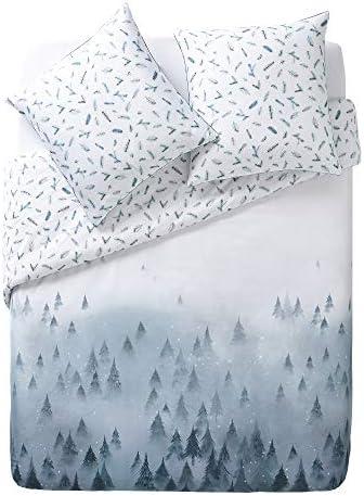 ESSIX Songe d'hiver Housse de Couette, Satin de Coton, Bleu Glacier, 200 x 200 cm