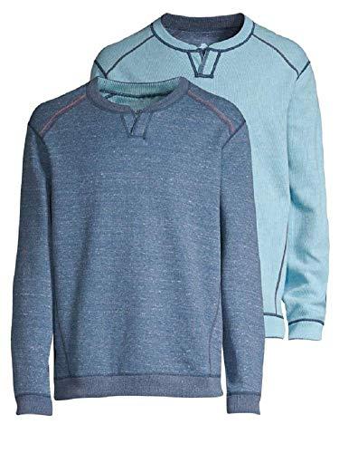 Tommy Bahama Men's New Flip Side Pro Reversible Abaco Sweatshirt (Color: Deep Marine Heather, Size L) ()