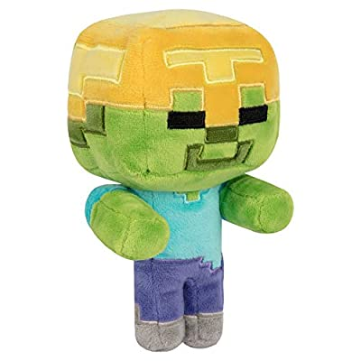 "JINX Minecraft Happy Explorer Gold Helmet Zombie Plush Stuffed Toy (Multi-Color, 7"" Tall)"