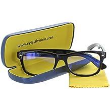 Video Gamer Glasses - Anti UV and Blue Light Blocking Digital Eye Strain Prevention Full Rim Lenses for Gaming and Computer Use (Black, 53-18-150mm (Large))