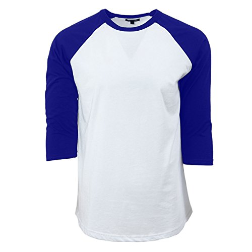 Rich Cotton T-Shirt Raglan (3XL, White/Royal)