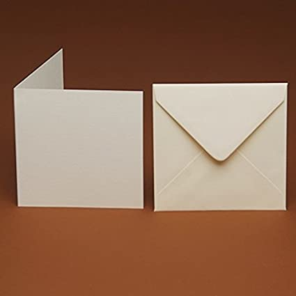 105mm 10 Small Square Blank Ivory Smooth Cards and Matching Smooth envelopes 4