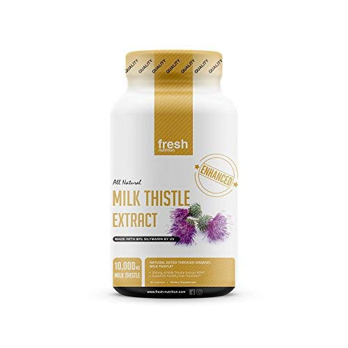 (Milk Thistle Capsules - Strongest Available 10,000mg 80% Silymarin - Organic Liver Cleanse & Detox Support Supplement - Extract Powder in Capsule Pill Form - Made in The)