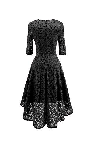 Vestido De Low Monocolor Swing negro Encaje Mujeres Vintage Las High vw7q6H