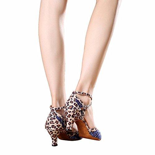 Bcln Donna Open Toe Sandali Tacchi Latino Salsa Tango Pratica Scarpe Da Ballo Con Tacco 2.4 Blu