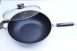 Home N Kitchenware Collection Aluminum Wok Pan with Glass Lid, Heavy Gauge, Stir Fry Pan w/Glass Lid (13 Inch)