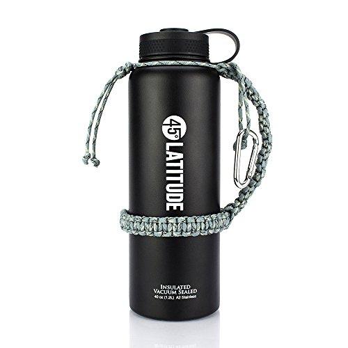 45 Degree Latitude Paracord Single Strap Carabiner Bottle Holder - 40 oz Gray