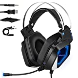 Gaming Headset for Xbox One, PC, PS4, Mbuynow Over-Ear Stereo Gaming Headphones with Noise Cancelling Mic, Surround Sound, Volume Control, LED Lights for Laptop Mac Nintendo Switch Games