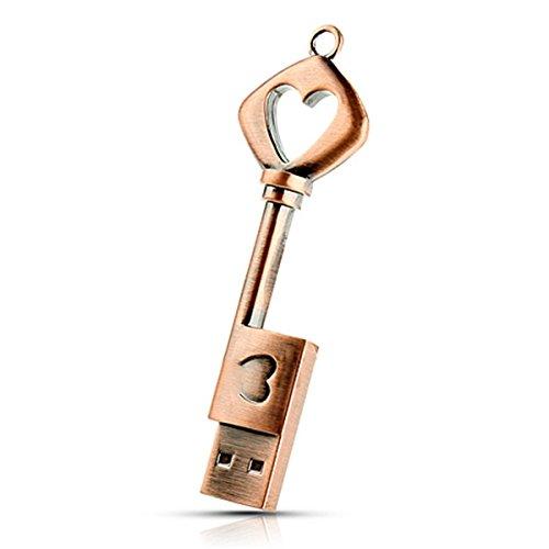 (Metal Heart Key Shape USB Flash Drive pendrive Memory Thumb 16gb)