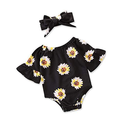 iZHH 2Pcs Baby Girls Infant Floral Toddler Jumpsuit Romper+Headband Set Clothes Black -