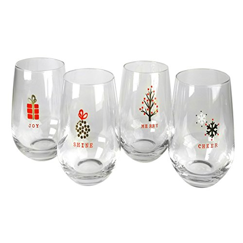 - Artland 61003 Tidings Holiday Stemless Glasses, Set Of 4, 16 oz, Print Design