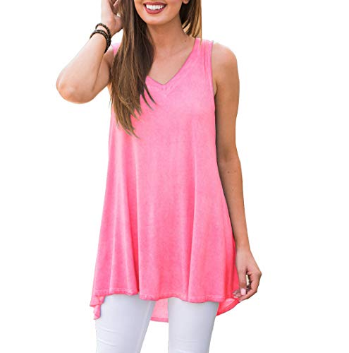 AWULIFFAN Women's V Neck Tank Tops Loose Casual Sleeveless Shirts Blouses (Pink,M)