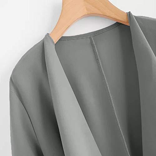 Unie Élégant Couleur Coat Bandage Femme À Poche A La Gris Manteau Mode Vestes Chuad Longues Manche Hiver 80nYnqg
