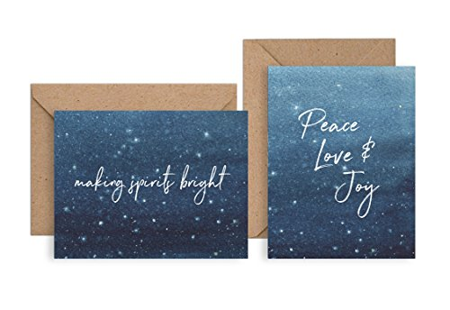 Set of 12 Christmas Cards - Watercolor Snowy Sky Holiday Pack - NEW FOR 2016! (12 Christmas Cards + Envelopes) - 2 Unique Designs - By Palmer Street Press