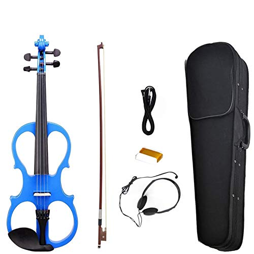 NAOMI Electric Violin Balance Sound Full Size 4/4 Electric Violin Fiddle Solid Wood High Level Electric Violin NEW SET BLUE by NAOMI