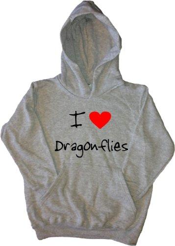 I Love Heart Dragonflies Grey Kids Hoodie (Black print)-14-15 Years