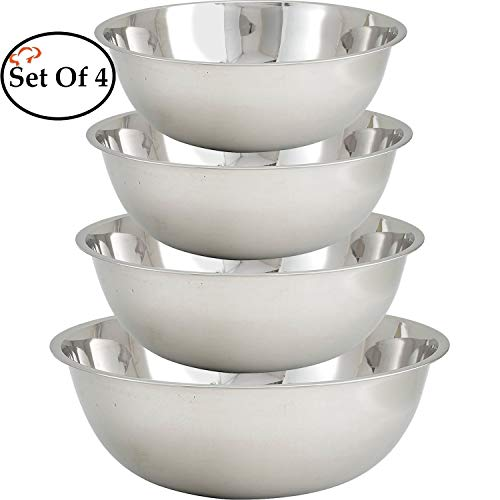 Tiger Chef Large Stainless Steel Standard Weight Mixing Bowls Set, Mirror Finish - Set Includes 13, 16, 20, and 30 Quart. - Mirror Finish Bowls