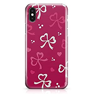 iPhone X Case Love Pink And White Ribbon Pattern Valentine Low Profile Quality Wrap Around iPhone 10 Case