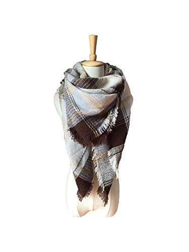 Logistt Women Chunky Large Blanket Wrap Shawl Scarves Casual Soft Plaid Faux Cashmere Scarf
