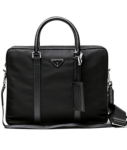 Prada Men's Cross Zippered Real Leather Briefcase One Size - Out Prada
