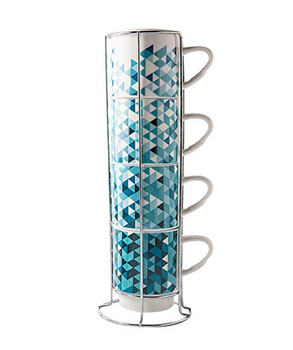 (Porcelain Mugs Set - 13 Ounce Stack-able Cups Set with Chrome Rack Holder for Coffee, Tea, Cocoa)