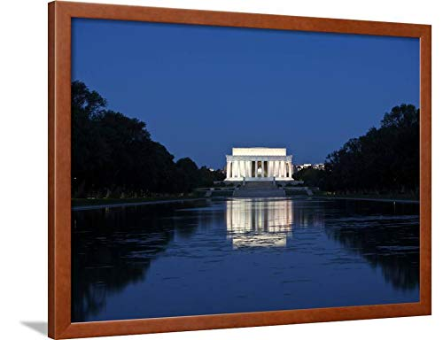 ArtEdge Lincoln Memorial Reflection in Pool, Washinton D.C, USA by Stocktrek Images, Brown Wall Art Framed Print, 24x32, Unmatted