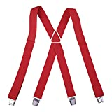 HDE Mens Solid X-Back Suspenders - 1.5 Inch Adjustable Straight Clip On Braces (Red, 48 inches)