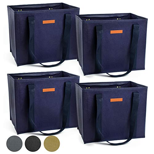 (Reusable WASHABLE Grocery Shopping Cart Trolley Bags - set of 4 | Large, Durable, Collapsible Tote with Reinforced Sides and Bottoms (Navy Blue, 4))