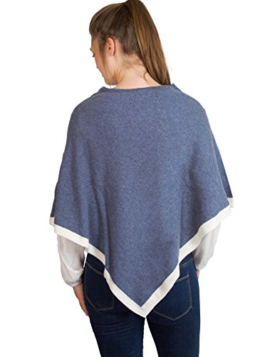 Zwillingsherz Womens Wrap Poncho Topper - with Cashmere - various colors - jeansblue