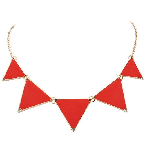 Jane Stone Red Triangle Popular Collar Fashion Statement Necklace Party Jewelry(Fn0568-Red) (Red Gold Necklace)