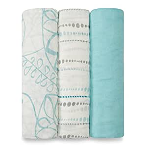 aden + anais silky soft swaddle 3 pack, azure