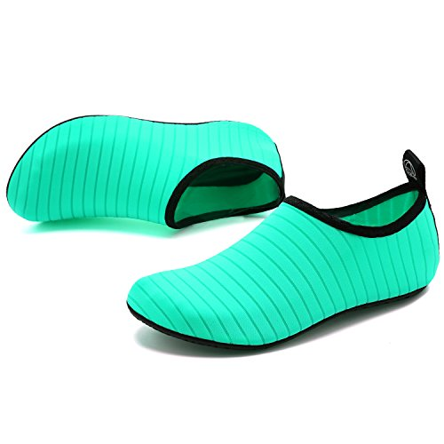 welltree Mens Womens Water Shoes Quick Dry Sports Aqua Shoes Unisex Breathable Swim Shoes,for Dance,Swim,Walking,Yoga,Lake,Beach,Garden,Park,Driving,Boating Green.2