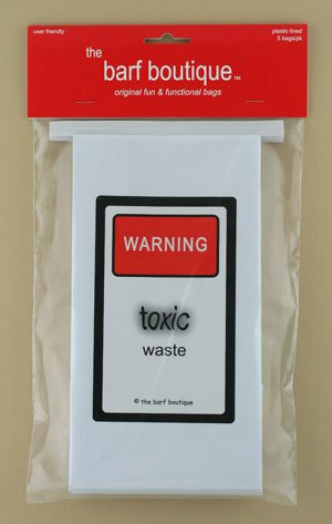 """Toxic Waste"" Barf Bags - Funny Vomit Bags (5/pk)"