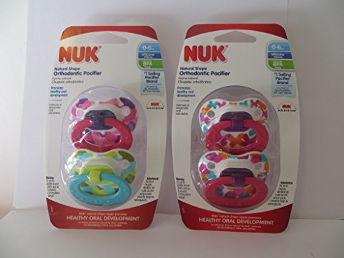 4 Nuk Orthodontic Pacifiers 0=6 Months Girl Butterflies & Camoflage BPA Free Natural Shape (2 Packages)