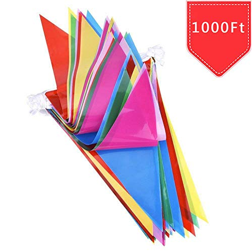 600pcs Multicolor Pennant Banner Bunting Flags 1000 Ft for Festival Party Celebration Events and Backyard Picnics Nylon Fabric Decorations Flags (600pcs)]()