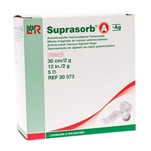 (Suprasorb A+ Ag Calcium Alginate Wound Dressing with Silver, Antibacterial Wound Rope with Gel Formula for Ulcers, Absorbent, Non-Adherent, Sterile & Individually Sealed, 12