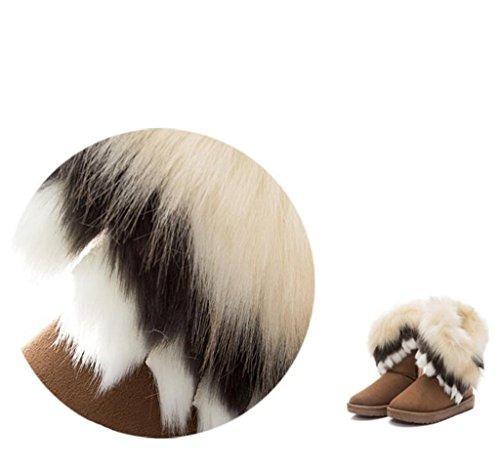 Huagmei Womens Winter Suède (leer) Snow Enkellaars Faux Fur Platte Schoenen Zwart