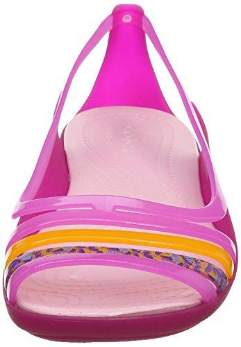 Crocs Isabella Huarache Flat W Ppk/Crl, Bailarinas para Mujer Rosa (Petal Pink/Coral)