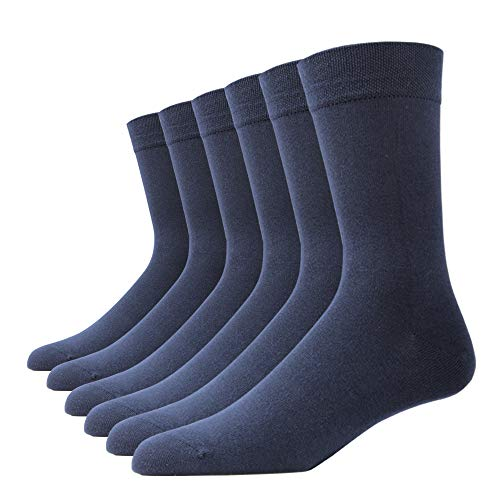 SOXART Premium Dress Socks for Men & Women 6-Pack Lightweight Super Soft Cotton Rich Solid Color with Casual Style