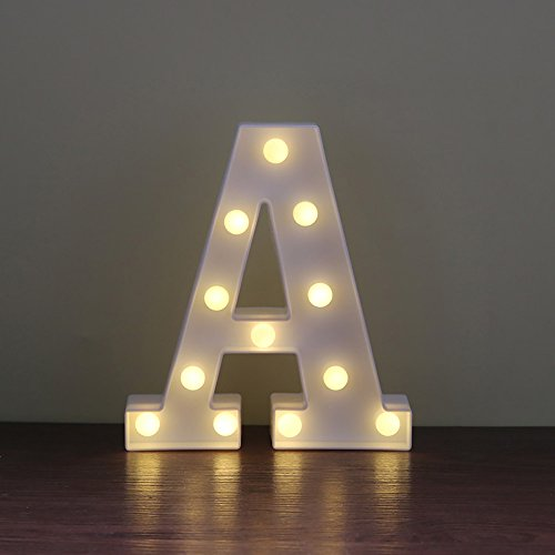 Lamp Alphabet (CSKB LED Marquee Letter Lights 26 Alphabet Light Up Marquee Letters Sign For Wedding Birthday Party Battery Powered Christmas Night Light Lamp Home Bar Decoration A)