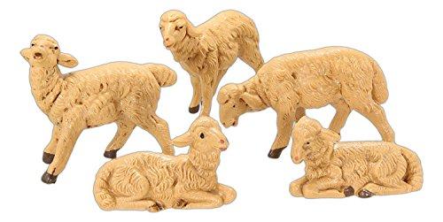 Fontanini Brown Sheep Italian Nativity Village Figurines Set of 5 52539 New (Fontanini Sheep)