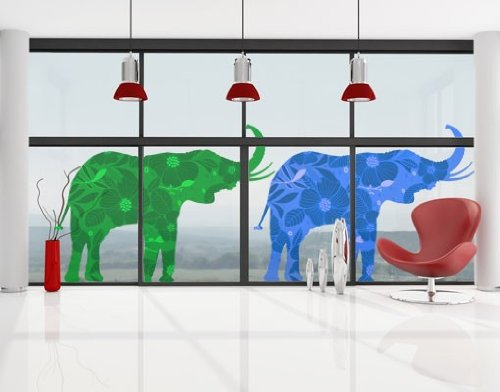 Window Sticker two deco style elephants set window film window tattoo glass sticker window art window décor window decoration window picture Dimensions: 56.7 x 145.3 inches by PPS. Imaging