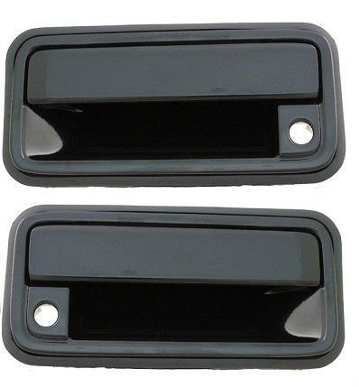 1988-1994 Chevrolet Silverado GMC Sierra Front Outside Door Handle Black (with Keyhole) Pair Set Both Driver and Passenger NEW 92-94 Suburban Yukon Blazer 15968163 15968164 GM1322102 GM1323102